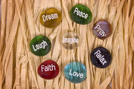 hope: Nice Selection Of Encouragement Or Inspirational Stone Stock Photo