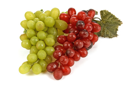 clusters: Green And Red Grape Clusters Isolated On White Background Stock Photo