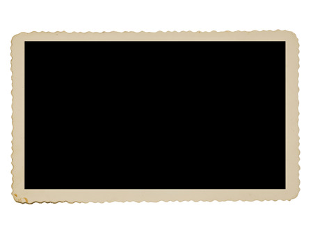 deckled: Old Deckle Edge Photo Border Isolated On White