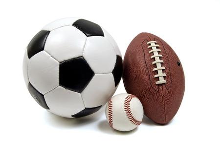 Soccer(Football), Baseball, And Football Isolated On White photo