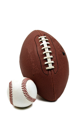touch base: Baseball and Football Isolated On White