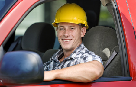 Handsome Construction Worker Imagens