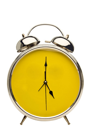 Close Up Vintage Alarm Clock With Yellow Face Background Stock Photo - 36380561