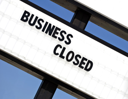 Out Of Business Sign Stockfoto