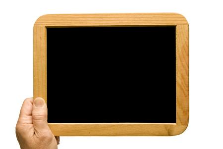 Hand Holding Small Blank Blackboard photo