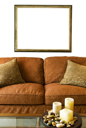 Vertical Shot Blank Picture Frame Over Sofa photo