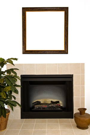 classic living room: Large Blank Picture Frame Over Fireplace