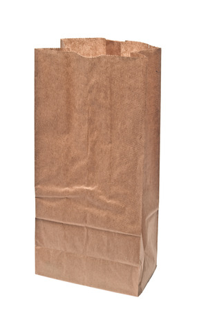 Open Brown Paper Bag Isolated On White Background