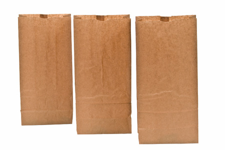fronts: Three Brown Lunch Bags Standing With Blank Fronts