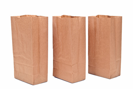 thrifty: Three Open Brown Paper Bags Stock Photo