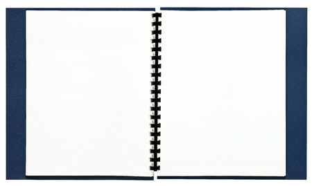 Blank Opened Spiral Bound Book With Blue Cover