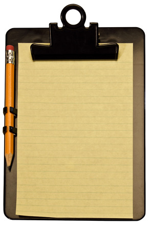 Yellow Notepad And Pencil On Black Clipboard Stock Photo