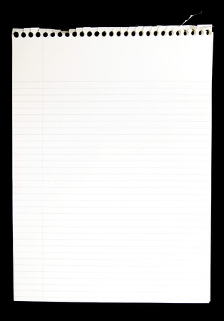 ruled paper: Blank Page Torn From Spiral Notepad On Black Background Stock Photo