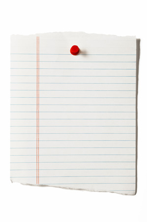 paper pin: Torn Notebook Page With Red Thumbtack Stock Photo