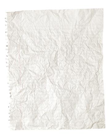 crinkled: White Crinkled Or Crumpled Ruled Paper Background