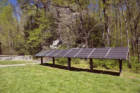 solar array: Electricity Generating Solar Energy Panels Stock Photo