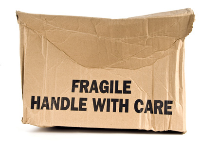 trashed: Fragile Handle With Care Brown Box Crushed Stock Photo