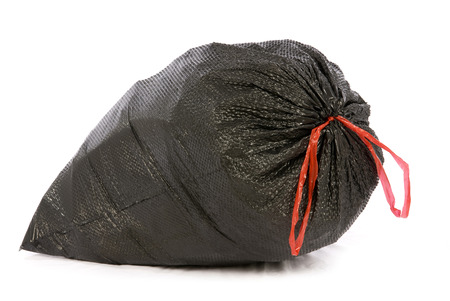 garbage: Big Full Black Garbage Or Trash Bag With Red Tie Isolated On White