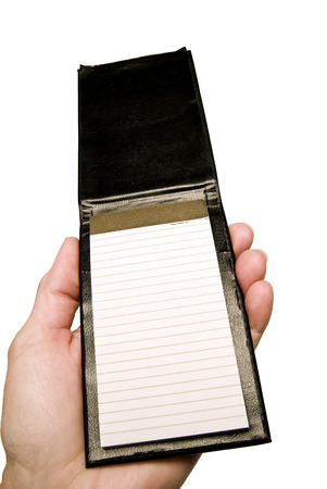 palm lined: Hand Holding Small Blank Notepad Stock Photo