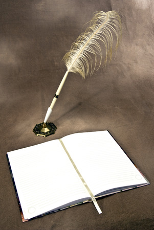 feathered: Blank Opened Journal With Feathered Pen Vertical Stock Photo