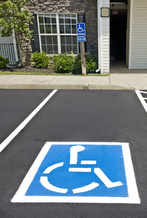 disabled parking sign: Handicapped Parking Place Stock Photo