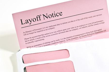 Pink Slip Ou des avis de licenciement Banque d'images - 38415065
