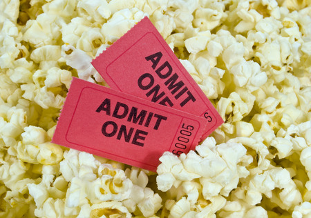 Red Movie Tickets And Popcorn photo