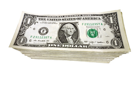 neatly: Tall And Neatly Stacked Dollar Bills Isolated On White