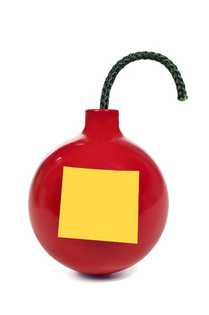 detonate: Red Round Bomb With Blank Yellow Sticky Note