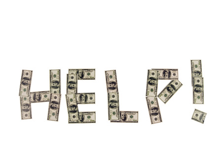 HELP Spelled Out Showing Needing Help With Money Problems Foto de archivo