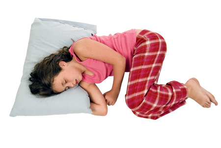 little: Little Girl Sleeping In Fetal Position On White Background