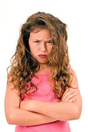 Little Girl Mad With Tangle Hair And Arms Crossed