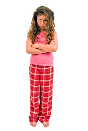 Little Girl Pouting In Her Pajamas photo