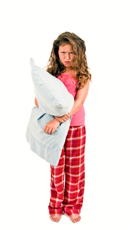 wanting: Little Girl Holding Pillow Not Wanting To Go To Bed