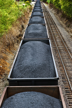 Coal Cars On A Freight Train Full And Ready To Go