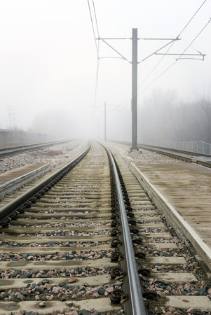 infinity road: Fog Over Train Tracks And Power Lines