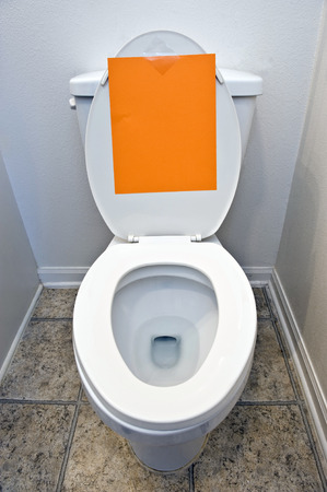 blank sign: Toilet Bowl With Blank Sign