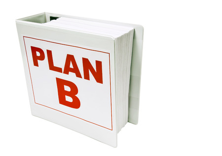 business symbols metaphors: PLAN B Book As Backup Plan Isolated On White