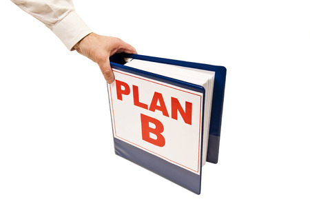 business symbols metaphors: Going For PLAN B Isolated On White