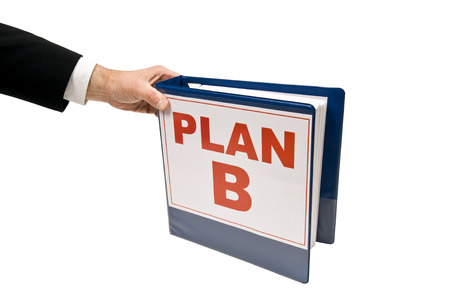 business symbols metaphors: Businessman Grabbing PLAN B Isolated On White Stock Photo