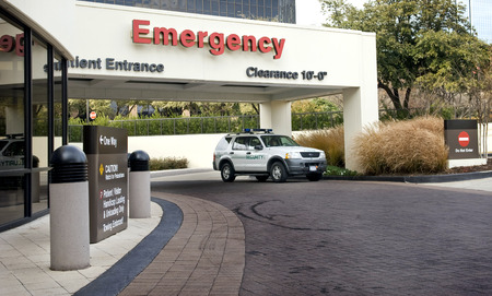Red Emergency Room With Security Vehicle