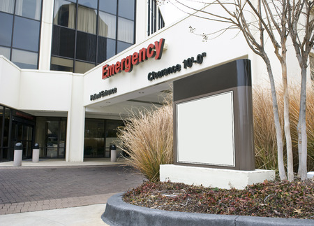 Red Emergency Room With Blank Sign