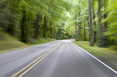 Motion blur on mountain road in forest