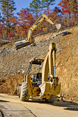breech: Construction Excavator At Site Stock Photo