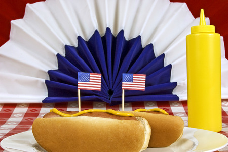 Patriotic Foods Shown Here As Hot Dogs With Little Flags Focus is on the little flags photo