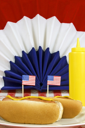 Vertical Shot Of Patriotic Hot Dogs With American Flags  Focus on the little flags photo
