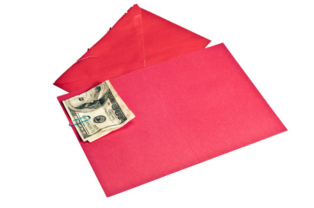 attached: Crumpled Money Attached To Blank Red Greeting Card