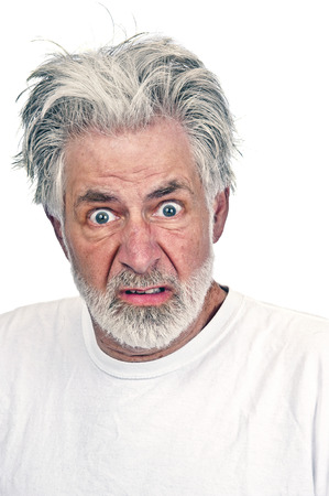 impatient: Portrait Close Up Of Angry Old Man Stock Photo
