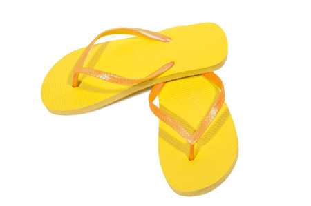 flops: Yellow Flip Flops Isolated On White