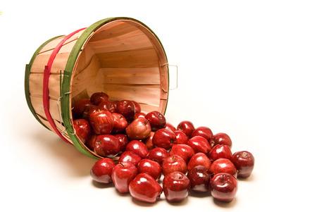 bushel: Large Bushel Basket Of Delicious Red Apples Spilling Out On White Background
